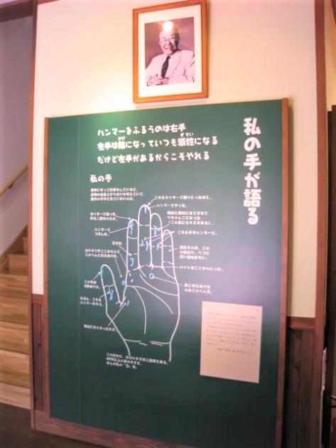 本田宗一郎の写真と左手の特大展示パネル